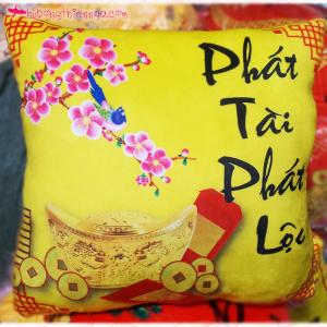 Gối thư pháp vàng - Phát Tài Phát Lộc